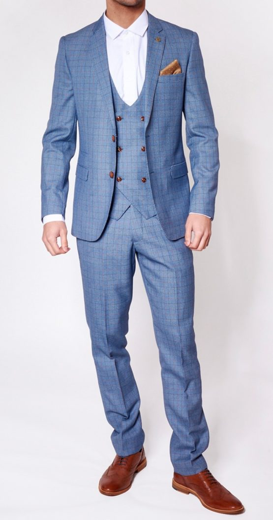 George Light Blue Check Print Three Piece Suit Suit Distributors Cork