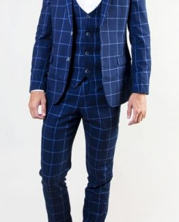 Magnum Navy Blue Windowpane Three Piece Suit Suit Distributors Cork